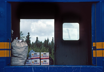 September 1992.  The train from Winnipeg to Churchill carries essential supplies to many isolated villages along the way.  Here supplies are unloaded at Thicket Portage.