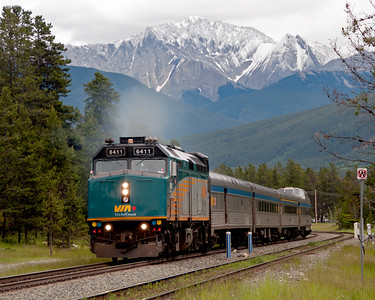 The Rupert Rocket leaves Jasper.  More correctly known as the Skeena, this pocket streamliner makes a two day trip to Prince Rupert, with an overnight stop at Prince George.  It regularly carries a Park car and during the summer season a first class coach.