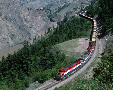 May 1997. Southbound down the grade in the Fraser River canyon  a few miles out of Lillooet.