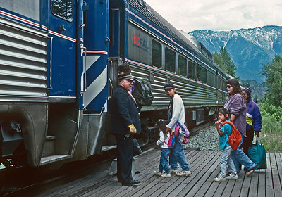 June 1997.  Loading passenger at Seton Portage.