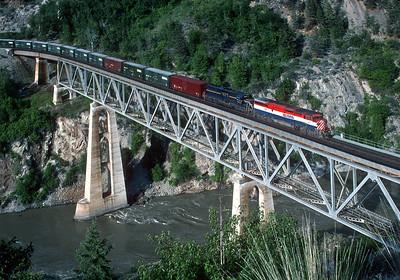 June 1997. The bridge over the Fraser at Lillooet.