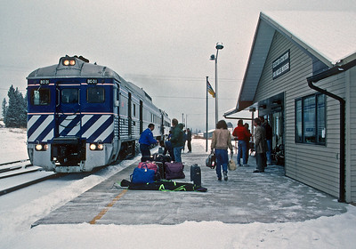 March 1991.  The southbound train pulls into 100 Mile House.