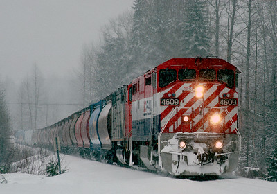March 1991.  Southbound freight through Whistler.