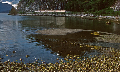 June 1997.  Southbound Budds along Howe Sound.
