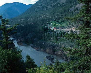 June 1997.  Descending into the Fraser River canyon approaching Lilooet.