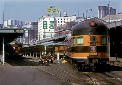 August 1966.  King Street Station, Seattle.  The Empire Builder is on the right, the International on the left.