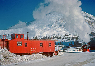December 15, 1961.  Switching at 11,000 feet. The C&S local on the Climax branch from Leadville switches the molybdenum mine at Climax. As noted in an earlier post this was the last standard gauge Class 1 steam operation in the U.S. At the time it was also the highest elevation reached by a standard gauge adhesion railroad in the U.S., although in years past both the DRGW and Colorado Midland reached similar elevations.