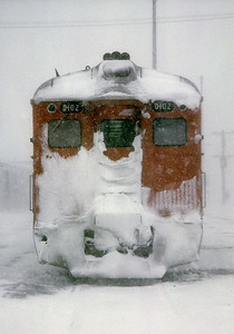 March 1967.  This is what the RDC I road looked like after a trip from Saint John to Moncton in a snow storm.