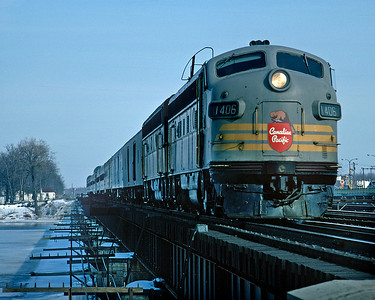 April 1968.  The CP Montreal section of The Canadian heads west from Montreal.
