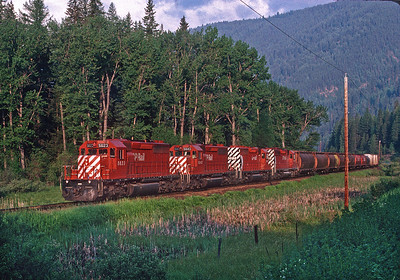 The Trail job heads back toward Cranbrook just after sunrise.  June 1990.