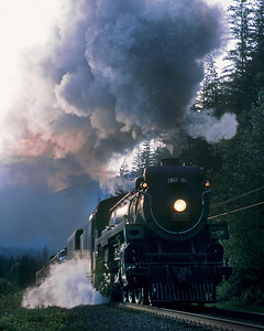 May 13, 2004.  The GW Travel trans-Canada special heads east toward Revelstoke to spend the night.