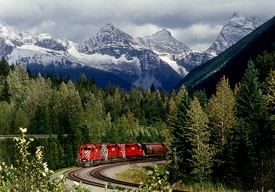 September 8, 1988.  A freight heads west from Rogers Pass.