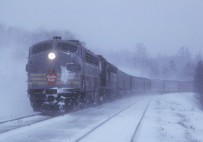 March 1967.  It is approaching 8:50 a.m. and the Atlantic Limited is near the end of its overnight journey from Montreal via the shortcut across northern Maine.