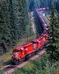 September 1988.  Westbound not far west of Field.