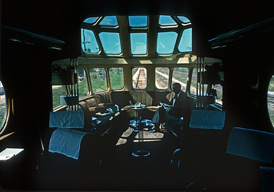 August 1966.  The interior of a Milwaukee Road observation car.  I was on my way to grad school and had ridden the GN east from Seattle to St. Paul, MILW to Chicago, and the EL Phoebe Snow too Hoboken.