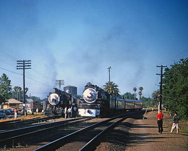 May 4, 1958.  Davis.  Note the 4460 is running as Train 223 with the regular Sacramento to Oakland cars.  It ran combined with our special from Davis to Oakland.
