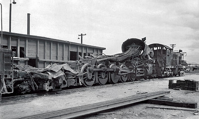 November 11, 1946 the 5037 suffered a catastrophic boiler explosion at Bosque, Arizona while heading a freight from Gila Bend to Tucson.  Oddly it was was being helped by the little 1033, an Alco switcher.  The crews of both engines were killed, and only the headbrakeman riding the 1033 survived but with severe burns.  Photographer unknown.
