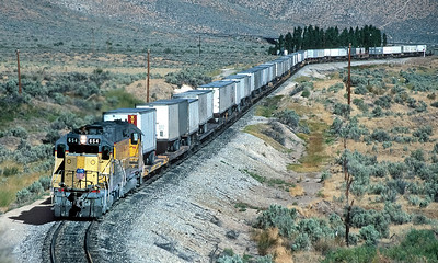 September 1990.  Reno branch local.  This was originally the narrow gauge Nevada California Oregon mainline north from Reno, and (with substantial relocation) became the WP's access to Reno.  Following the mergers of UP, WP and then SP, a connection was no longer needed and the line was abandoned.