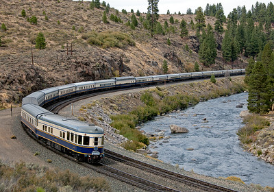 September 24, 2007.  The Grandluxe Express heads east on the UP just east of Truckee.  It has just passed the westbound Amtrak 5 and running ahead of it is the RBBB circus train.