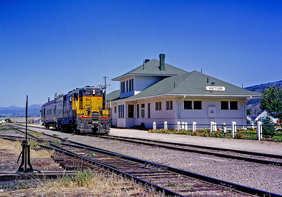 August 1966.  Notice the flowers and lawn around the neatly kept white UP station at the end of the lonely Victor branch. Served by just a mixed train when I visited, only a year earlier there had been seasonal Pullmans for vacationers headed to Grand Teton National Park.