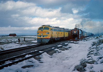 November 11, 1961.  The City of LA runs around our train at Table Rock, followed a few minutes later by the City of Portland.  The 844 apparently did not have any speed restrictions because we pulled into Green River before the City of Portland had left.
