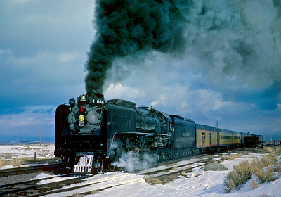 "November 11, 1961.  The UP 844 does a ""chuff-by"" on the siding at Table Rock while waiting to be overtaken by two of the ""Cities""."