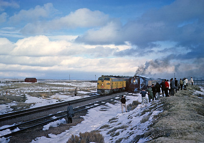 November 11, 1961.Table Rock, WY.  Not long after City of LA ran around our train , the City of Portland (with a MILW unit leading) also passes.