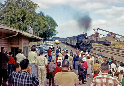 June 7, 1959.   WP Niles Railroad Days excursion stops at Fremont to pickup passengers for a roundtrip over Altamont pass.