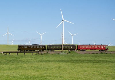 """April 20, 2019.  A large """"wind farm"""" coexists along the museum right of way, but for the most part does not intrude on most of the best views of the line."""