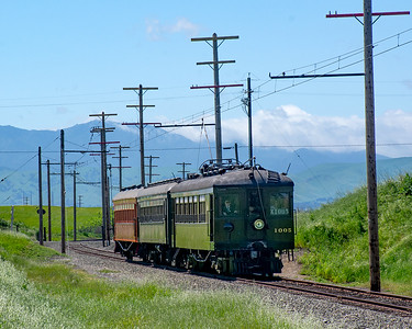 April 20, 2019.  Northbound approaching Gum Grove with Mount Diablo in the background.
