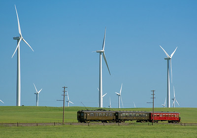 April 20, 2019.  While backing to Birds Landing the train passes the wind farm.