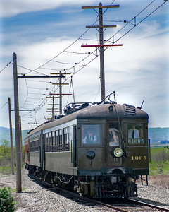 """April 13, 2019. Western Railway Museum's springtime """"Scenic Limited"""" through the green hills to Birds Landing."""
