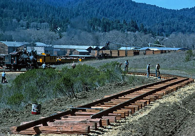 Circa 1963.  The former West Side Lumber 3 has arrived at Roaring Camp, and is providing compressed air for the work building the lower loop.