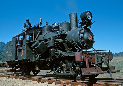 Circa 1963.  The West Side Lumber 3, a heisler,  at Roaring Camp.