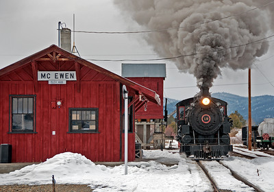 February 2, 2014.  The recreated station facilities at Mc Ewen look so typical of railroad towns in the American West.