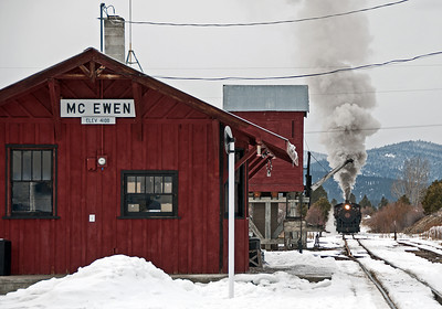 February 2, 2014.  Mc Ewen, the headquarters for the recreated Sumpter Valley Railroad.