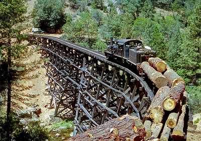 No. 10 headed toward Tuolumne with one of the last trains of logs. In a few days the railroad would routinely shut down for the winter, but never reopen. This is another old Anscochrome slide that has be resurrected with Photoshop.  October 1960.