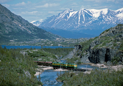 June 2003.  A White Pass train heads back to Skagway from Fraser.