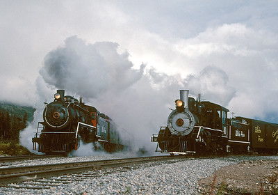 September 2000.  The 73 storms by with a Skagway Express while the 40 waits patiently in the siding with a local freight. Well, not really, but it looks that way in this Trains Unlimited photo runby.