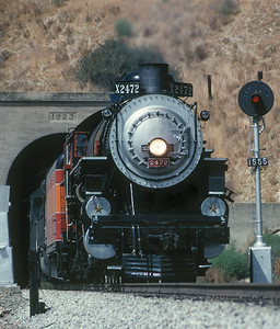 """October 1992.  Exiting the tunnel at Harlem on the Coast .  Heading south for its role heading the """"Earth Train""""."""