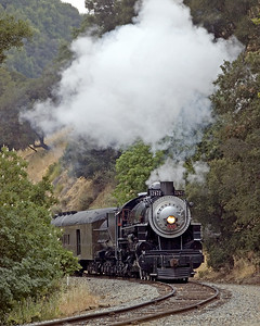 There is nothing dramatic about this picture, so what I believe appeals to me about it is it recreates the ambience of branch line steam railroading about anywhere along the Pacific Coast from Oregon to Southern California during SP days. I like the details. The steep canyon walls, oak and madrone trees (not to mention poison oak), the typical morning overcast, the cool air helping the steam condense, light branch line rail, the classic SP steam locomotive face, a heavyweight Harriman headend car. Niles Canyon Railroad (with the help of the Golden Gate Railroad Museum who preserves the 2472) provide a great setting for this kind of thing. And as they lay more track the opportunities will only get better.  May 24, 2008.