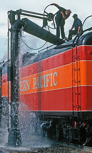 April 1981.  A northbound SP 4449 special takes water at the water plug at Black Butte. The SP maintained plugs at Black Butte and Wicopee for filling fire train tank cars. Both are now gone. I like how the guy climbing into the cab looks, vintage clothing for the era.  May 1981.
