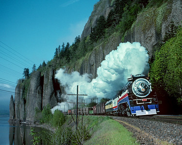 This was the 4449's break in run to Wishram and return after restoration in Portland.  May 1975.