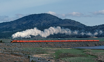May 1984.  The New Orleans Worlds Fair Daylight south of Klamath Falls.  The original Daylight was called the most beautiful train in the world.  This recreation tends to confirm that claim.