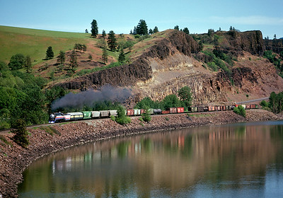 The ex-SP 4449 returns from Wishram to Portland on its break-in run following restoration for the AFT.  May 1975.
