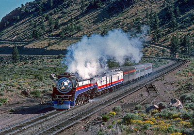 June 1975.  After rebuilding in Portland the  4449 deadheads with a short train to meet up with the American Freedom Train in the east.  This is southbound at Hotlum between Klamath Falls and Dunsmuir.