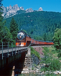 July 1992.  Southbound in the Sacramento River canyon,  Castle Creek in foreground, Castle Craggs in the distance.