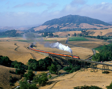 June 1984.  SP 4449 heads north from San Luis Obispo with a helper to Santa Margarita, looking very much like the original Train 99 Coast Daylight except with an SD40 for a helper rather than a 2-10-2. This was the return leg to Portland of the New Orleans Worlds Fair Daylight.