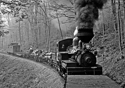 "May 2005.  A Carl Franz charter on the Cass Scenic. The color version of this did not work because there was too much contrast between the fog shrouded woods and the dark engine, but in black and white I think it looks ""old timey"". The Cass engines are so well maintained that the boiler jacket and domes reflects light as if it were factory new, adding to the sense of age."