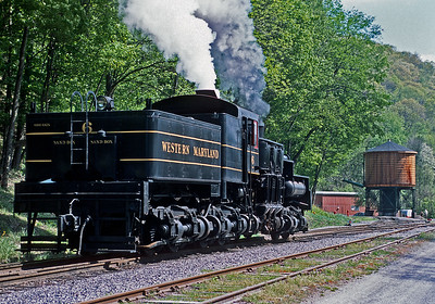 Western Maryland No. 6 was supposed to pull one of our trains, but had a problem with bad boiler water and we only saw it steam around the Cass yard the first day.